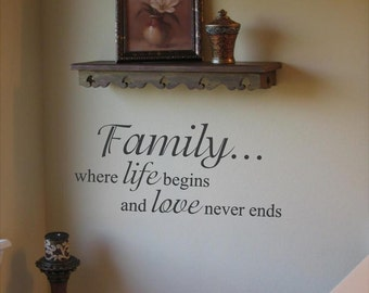 Family where life begins and love never ends 36 x 15.6  Wall Art in Words Vinyl lettering Decals