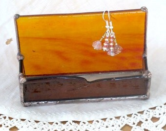 Glass Business Card Holder or Organizer in  Ambers and Browns