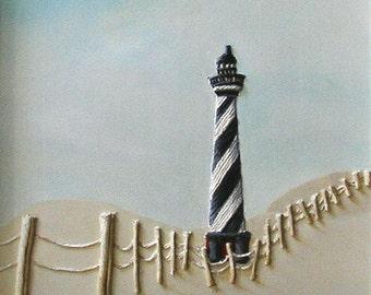 Lighthouse Painting - Nautical Decor Spiral Black & White Barber Pole Beach Decor String Art Seaside Theme Wall Art