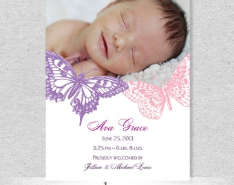 Butterfly Photo Birth Announcement