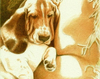 Basset Art Print plus Free Matching Card