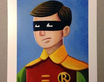 "The Boy Wonders - Batman's ROBIN illustration. 5""x7"" Print"