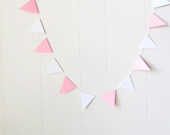 Flag Bunting Garland Nursery Decor Pink White