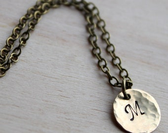FREE SHIPPING.  Handstamped Initial Necklace. Brass