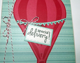 Special Delivery Hot Air Balloon Baby Card