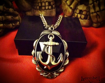Black Anchor Necklace // Anchor Jewelry // Nautical Jewelry // Sailor Necklace // Anchor Pendant