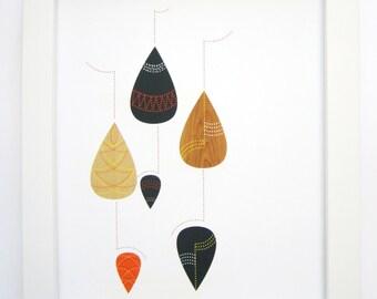 Tear Drops Art Print, Mid Century Modern, Abstract Art, Wall Art, 8x10