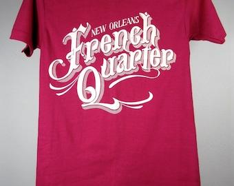 vintage 1980s HOT pink new orleans FRENCH quarter t-shirt MARDI gras collectable tshirt S jazz fest souvenir U S A