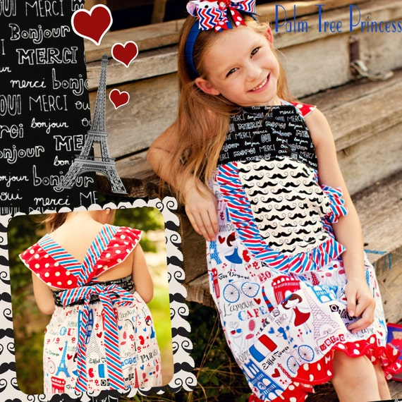 Paris Party Dress, Girls Dress, Paris Dress