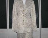 Vintage Couture Gold Lame Brocade Skirt Bustier Jacket Bridal Suit