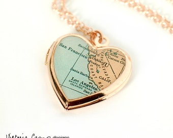 Rose Gold Heart Locket Necklace with Antique California Map, Rose Gold Chain, San Francisco, Los Angeles, Santa Barbara