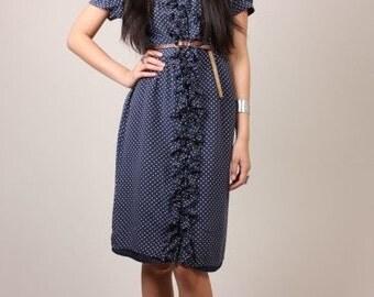 Vintage 70s 100% SILK Blue & White Polka Dot Ruffle Button Down Day Dress S/M