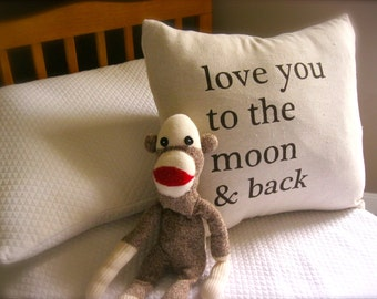 """I Love You to the Moon and Back 16""""x16"""" Pillow Cover in Natural Linen"""