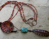 Prayer Feather - Peruvian Turquoise w/ Copper Feather & Beaded Disc