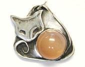 Mystic Cat pendant with peach moonstone, symbolic animal totem pendant, cat lover jewelry