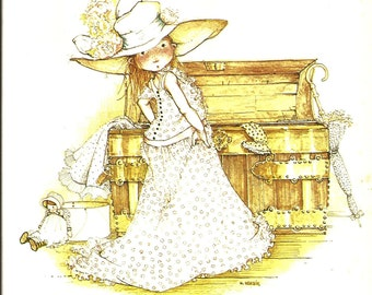 Holly Hobbie Print - Vintage Book Plate - Playing Dress Up - Children's Print - Vintage Wooden Attic Trunk - Wall Hanging 1970s