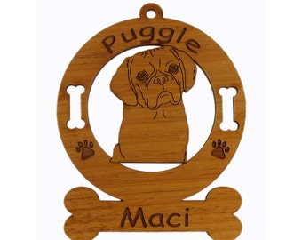3763 Puggle Head Personalized Dog Ornament