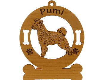 3771 Pumi Standing  Personalized Wood Ornament