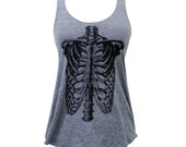 Skeleton Tank Top - Ribcage shirt - (Ladies Sizes S, M, L)