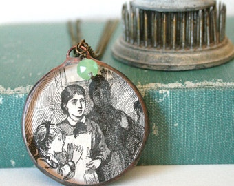 Antique Image The Maid Pendant with Green Glass Charm on Brass Chain