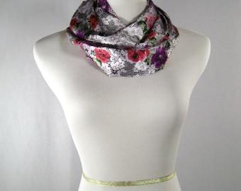 Infinity Scarf - Waterfall Scarf -  Rose Pink Purple Green White Black Floral Pattern - Silky Satin Peachskin - Long Cowl