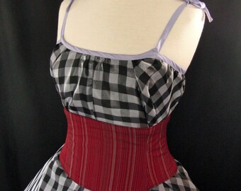 Red Striped Waist Cincher Corset Belt  Any Size Custom B
