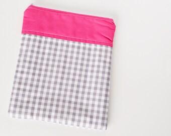 SALE** Pink & Grey Gingham - iPad Case (iPad cover, iPad zipper pouch, iPad sleeve)