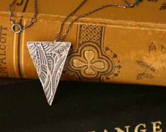 Oxidized Zentangle Necklace In Fine Silver