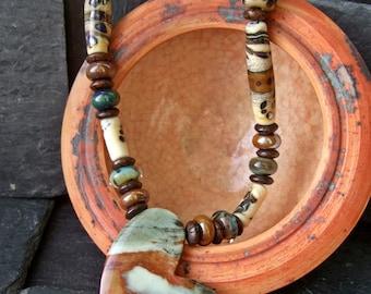 Heart of the Desert - Jasper Heart and Lampwork Necklace