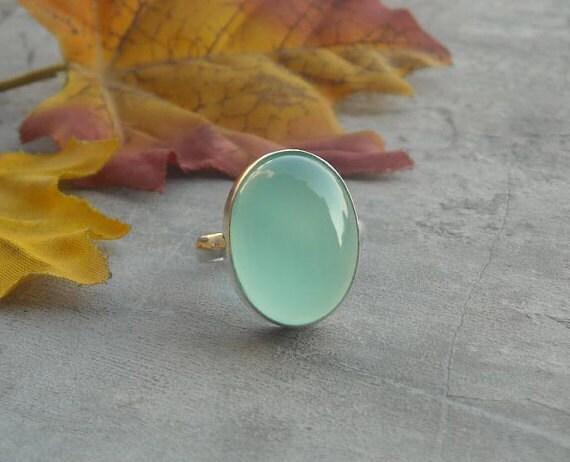 Sea foam green ring - Chalcedony ring jewelry - Bezel set - Oval ring - Gemstone ring - Christmas gift ideas