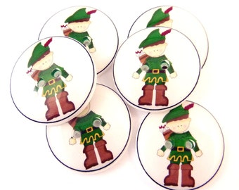 "6 Robin Hood Buttons. Children's Handmade Decorative Novelty Buttons. Sew on.  3/4"" or 20 mm.  Washer and Dryer Safe."