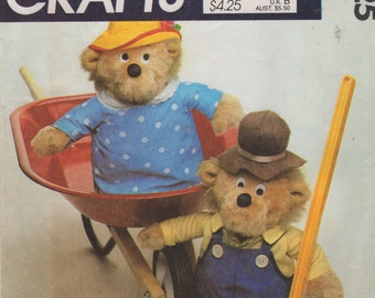 McCalls 9325 753 1980s Berenstain Bears Pattern 13 Inch Mama and Papa and Doll Clothes Vintage Toy Sewing Pattern UNCUT