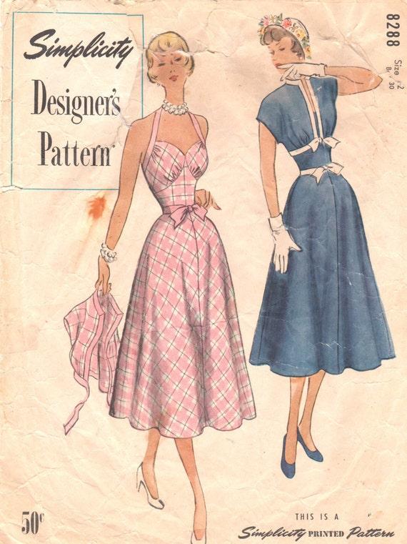 Simplicity 8288 1950s Pin Up Style Halter Sundress Bolero