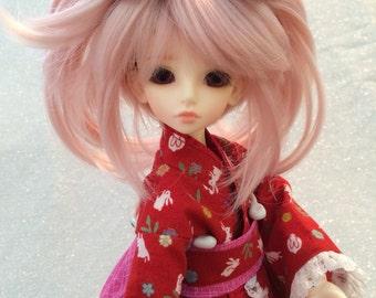 Deep Red Linen Bunnies Wa Loli Kimono for MSD Mini Super Dollfie