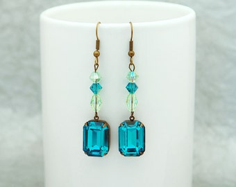 Deep Blue Zircon with mint flavor - One of a Kind , bold Swarovski crystal earrings with vintage appeal