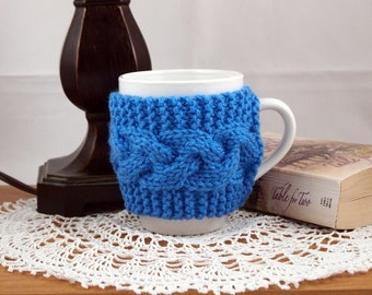 Deft Blue Hand Knit Coffee Mug Cozy Cable