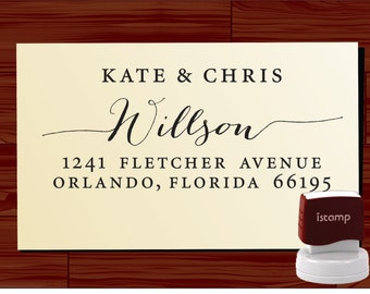 Calligraphy Handwriting Script Custom Return Address Stamp - Personalized SELF INKING Wedding Stationery Stamper - Style 1172J