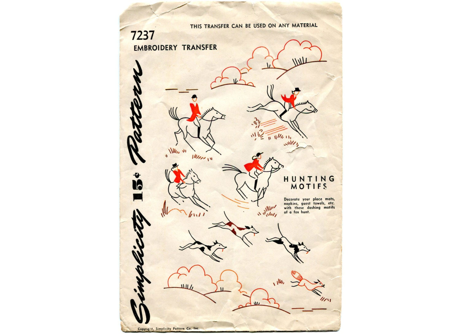 Vintage hunting motifs embroidery transfers s horses