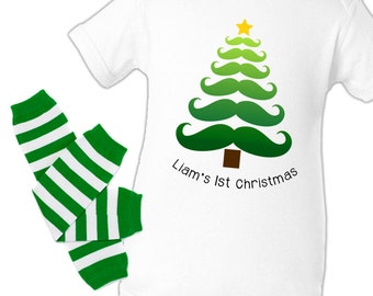 Personalized my first Christmas moustache Christmas tree baby boy bodysuit or tshirt and matching leg warmer set