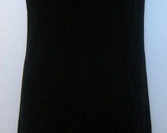 Vintage Velvet Dress, 1950s Peck & Peck Fifth Avenue New York Black Cotton Velvet Sleeveless Shift with Front Chevron