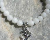 White Quartz Mala Bracelet prayer beads rosary with Silver Om (Aum) charm - 27 beads