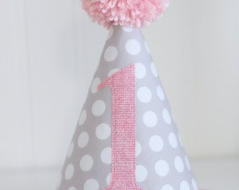 Pink and Gray Polka dot fabric party hat 1st birthday hat cake smash photo prop