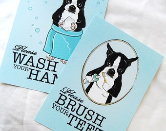 Boston Terrier Bathroom Prints - 5x7 Eco-friendly Pair