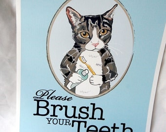 Brush Your Teeth Tabby Cat - 8x10 Eco-friendly Print