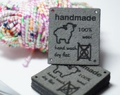 handmade wool care labels with holes for easy attaching care instructions