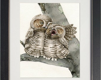 Good Night Owls - archival watercolor print by Tracy Lizotte