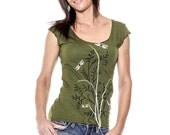 Dragonflies t-shirt, Flora Cap Sleeve Olive Green Womens scoop neckt-shirt, Gift for Her