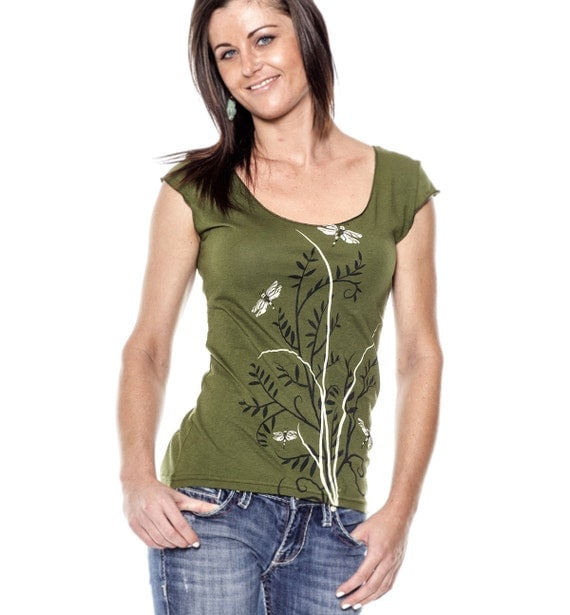 Dragonflies T Shirt Flora Cap Sleeve Olive By