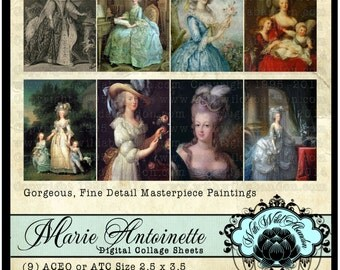 Marie Antoinette Digital Collage Sheet, ACEO, Digital Art, Hang Tags, Truth Cards, Book marks, or Wallet cards