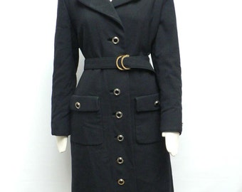 1970s black Trenchcoat/ Belted Trench/ 70s black Wool coat